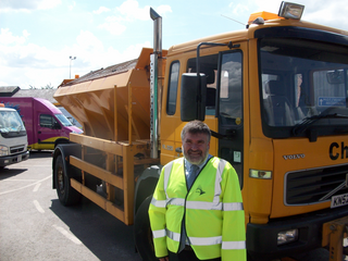 Dave Hodgson with Bedford Borough Council Gritting Lorry