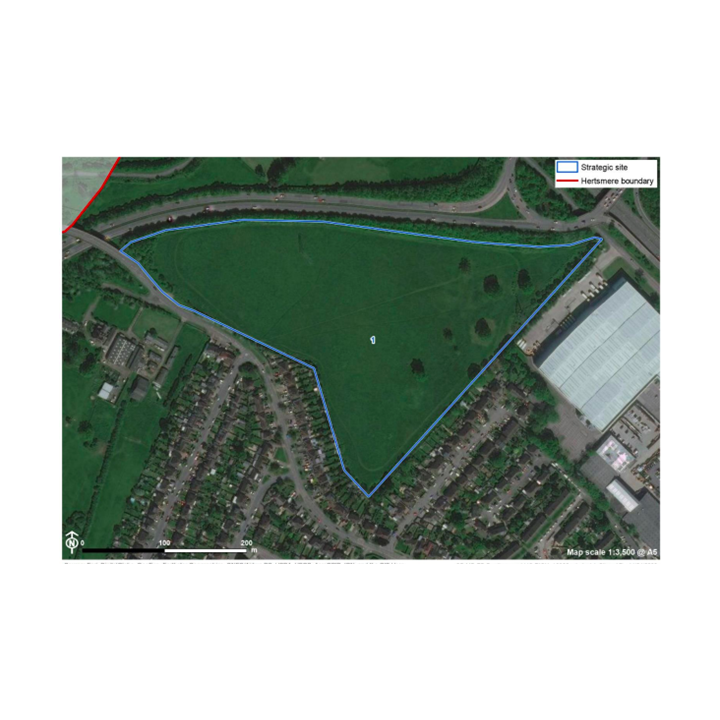 Satellite image of Bushey Mill Lane fields where HBC propose to build 80 homes and some commercial buildings (Hertsmere Borough Council)