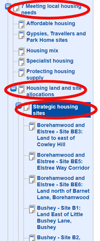Strategic sites in the plan (Hertsmere Borough Council)